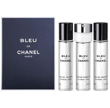 Bleu de Chanel Pour Homme zestaw woda toaletowa spray + wkłady 3x20ml