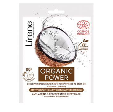 Lirene Organic Power – przeciwzmarszczkowa maska regenerująca na płachcie z kokosem i nawłocią (1 szt.)