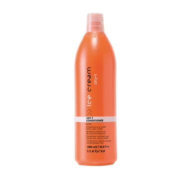 Inebrya Ice Cream Dry-T Conditioner – odżywka nawilżająca do włosów suchych i zniszczonych z proteinami jedwabiu (1000 ml)
