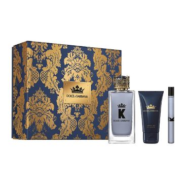K by Dolce & Gabbana – zestaw woda toaletowa spray 100ml + miniatura wody toaletowej 10ml + żel pod prysznic 50ml (1 szt.)