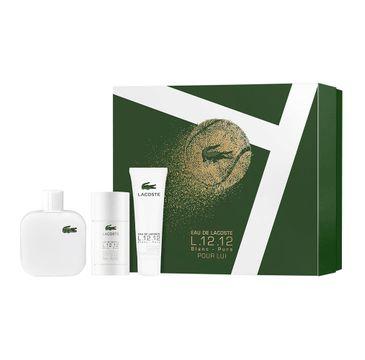 Eau de Lacoste – L.12.12 Blanc zestaw woda toaletowa spray 100ml + żel pod prysznic 50ml + dezodorant sztyft 75ml (1 szt.)
