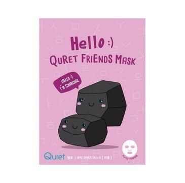 Quret – Hello:) Friends Mask maska do twarzy w płachcie Węgiel Aktywny (25 g)