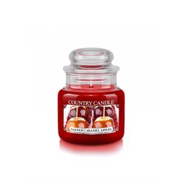 Country Candle – Mała świeca zapachowa z dwoma knotami Salted Caramel Apples (104 g)