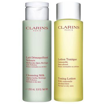 Clarins Cleansing Duo zestaw Lait Demaguillant Alpine Herbs Moringa Cleansing Milk mleczko do demakijażu 200ml + Lotion Tonique With Camomile tonik odświeżający 200ml