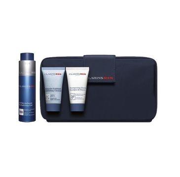 Clarins Men zestaw Revitalizing Gel żel do twarzy 50ml + Exfoliating Cleasner peeling złuszczający do twarzy 30ml + szampon i żel pod prysznic 30ml + kosmetyczka