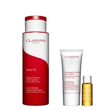 Clarins Zestaw Anti - Celluite Contouring Expert balsam do ciała 200ml + Exfoliating Body Scrub For Smooth Skin 30ml peeling do ciała + Tonic Body Treatment olejek tonizujący 10ml