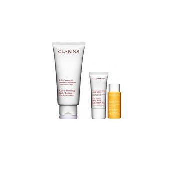 Clarins Zestaw  Extra-Firming Body Cream balsam ujędrniający 200ml + Exfoliating Body Scrub For Smooth Skin peeling do ciała 30ml + Tonic Body Treatment olejek tonizujący 10ml