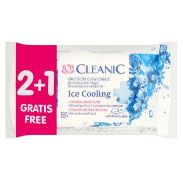 Cleanic Chusteczki odświeżające do twarzy i rąk Ice Cooling 2+1 gratis 1 op - (3 x 15 szt)