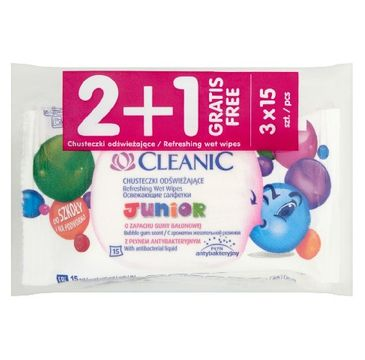 Cleanic Chusteczki odświeżające do twarzy i rąk Junior 2+1 gratis 1 op (3 x 15 szt)