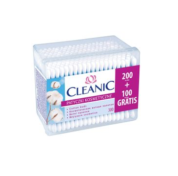 Cleanic patyczki higieniczne pudełko kwadratowe 1 op-200 + 100 szt.