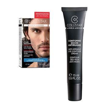 Collistar Zestaw Uomo Face & Beard Moisturizing Fluid krem nawilżający do twarzy z zarostem 50ml + Mini Anti-Wrinkle Eye Contour Creme 15ml
