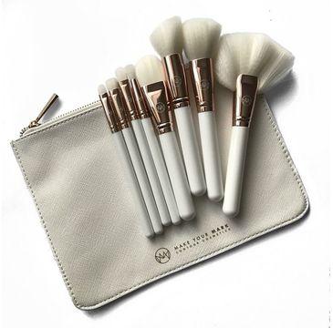 Contour Cosmetics Make Your Mark Zestaw 8 pędzli do makijażu + kosmetyczka Biała