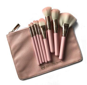 Contour Cosmetics Make Your Mark Zestaw 8 pędzli do makijażu + kosmetyczka Różowa