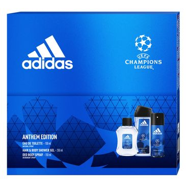 Adidas Zestaw prezentowy UEFA Anthem Edition Men deo spray 150ml+żel pod prysznic 250ml+woda toaletowa 100ml