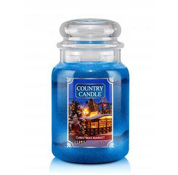 Country Candle – Duża świeca zapachowa z dwoma knotami Christmas Market (680 g)