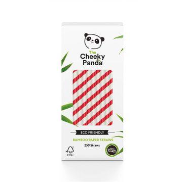 The Cheeky Panda – Bamboo Paper Straws bambusowe słomki jednorazowe czerwone paski (250 szt.)