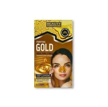 Beauty Formulas – Gold Nose Pore Strips złote oczyszczające paski na nos (6 szt.)