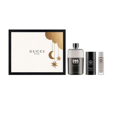 Gucci – Guilty Pour Homme zestaw woda toaletowa spray 90ml + dezodorant sztyft 75ml + miniatura wody toaletowej 15ml (1 szt.)