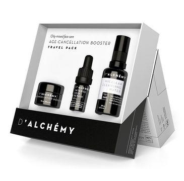 D'Alchemy Age-Cancellation Booster zestaw prezentowy lotion do cery tłustej i mieszanej 15 ml + olejek do twarzy 5 ml + płyn micelarny 30 ml