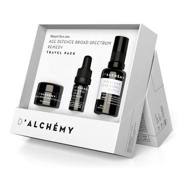 D'Alchemy Age Defence Broad-Spectrum Remedy zestaw prezentowy krem na zmiany hormonalne i przebarwienia 15 ml + płyn micelarny 30 ml + olejek do twarzy 5 ml