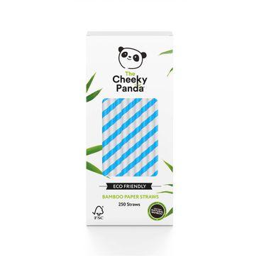 The Cheeky Panda – Bamboo Paper Straws bambusowe słomki jednorazowe niebieskie paski (250 szt.)