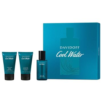 Davidoff – Cool Water Men zestaw woda toaletowa spray 40ml + żel pod prysznic 50ml + balsam po goleniu 50ml (1 szt.)