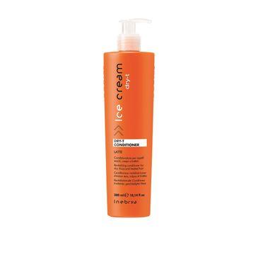 Inebrya Ice Cream Dry-T Conditioner – odżywka nawilżająca do włosów suchych i zniszczonych z proteinami jedwabiu (300 ml)