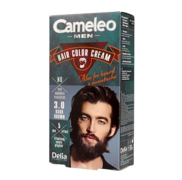 Delia Cosmetics Cameleo Men krem koloryzujący do włosów, brody i wąsów nr 3.0 dark brown 1 op.