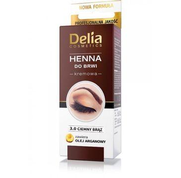 Delia Cosmetics Henna do brwi kremowa nr 3.0 Ciemny Brąz 2 ml