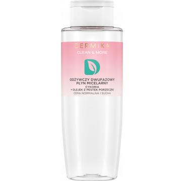 Dermika Clean&More – Odżywczy dwufazowy płyn micelarny cykoria + olejek z pestek porzeczki cera normalna i sucha (400 ml)