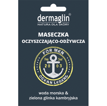 Dermaglin – maseczka oczyszczająco - odżywcza dla mężczyzn z wodą morską i zieloną glinką (1 szt.)