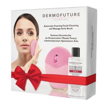 DermoFuture – Soniczna szczoteczka do twarzy różowa ze spieniaczem + żel GRATIS (1 szt.)