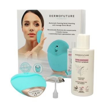 Dermofuture Technology Szczoteczka soniczna do oczyszczania twarzy niebieska+ żel 1 op.