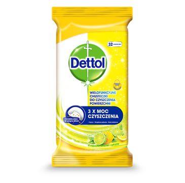Dettol Wielofunkcyjne chusteczki do czyszczenia powierzchni Limonka & Cytryna 32szt