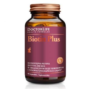 Doctor Life Biotin Plus biotyna 2500mcg w organicznym oleju kokosowym suplement diety 90 kapsułek