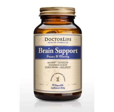 Doctor Life Brain Support 4 ekstrakty roślinne i formy magnezu suplement diety 90 kapsułek