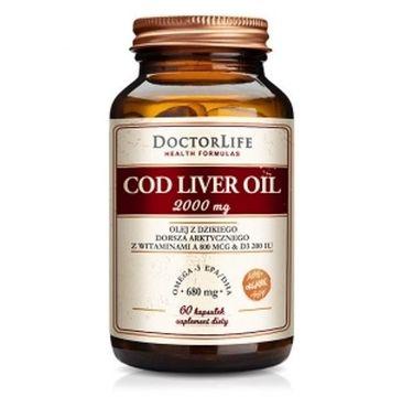 Doctor Life Cod Liver Oil 2000mg olej z dzikiego dorsza arktycznego z witaminami A 800mcg suplement diety 60 kapsułek