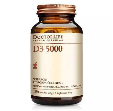Doctor Life D3 5000 cholekalcyferol z lanoliny 5000iu wsparcie odporności i kości suplement diety 120 kapsułek