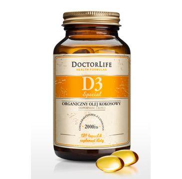 Doctor Life D3 Special 2000iu organiczny olej kokosowy suplement diety 120 kapsułek
