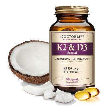 Doctor Life K2 & D3 organiczny olej kokosowy 130ug K2 mk-7 & 2000iu D3 suplement diety 180 kapsułek