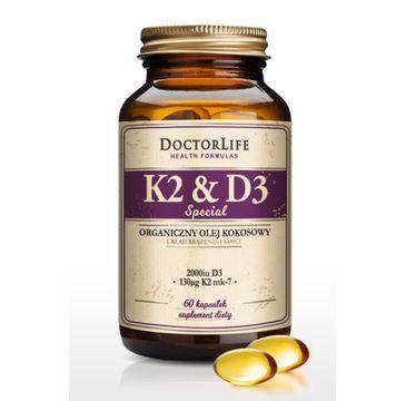 Doctor Life K2 & D3 organiczny olej kokosowy 130ug K2 mk-7 & 2000iu D3 suplement diety 60 kapsułek
