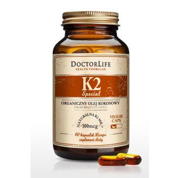 Doctor Life K2 organiczny olej kokosowy naturalna K2 MK-7 suplement diety 60 kapsułek