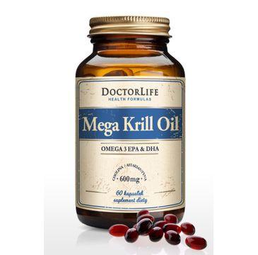 Doctor Life Mega Krill Oil Omega 3 EPA & DHA olej z kryla 600mg suplement diety 60 kapsułek