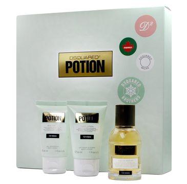 Dsquared2 Potion for Women zestaw prezentowy woda perfumowana spray 30 ml + balsam do ciała 30 ml + żel pod prysznic 30 ml