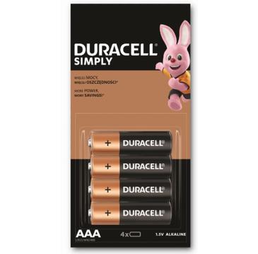Duracell Simply baterie alkaiczne AAA paluszki małe (4 szt.)