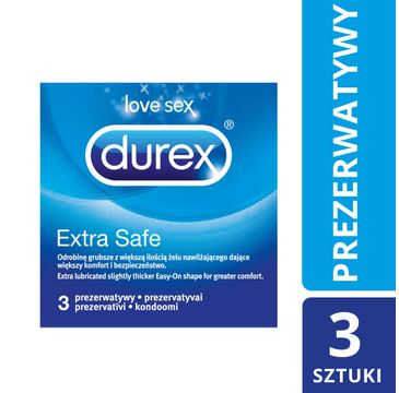 Durex Extra Safe prezerwatywy grubsze nawilżane (3 szt.)