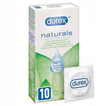 Durex Naturals cienkie prezerwatywy z lubrykantem stworzone z myślą o niej (10 szt.)