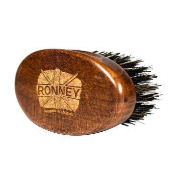 Ronney – Wooden Beard Brush drewniana szczotka do brody z naturalnego włosia Mała Ciemna (1 szt.)