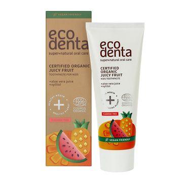 Ecodenta Certified Organic Juicy Fruit Kids Toothpaste soczyście owocowa pasta do zębów dla dzieci o smaku gumy balonowej (75 ml)