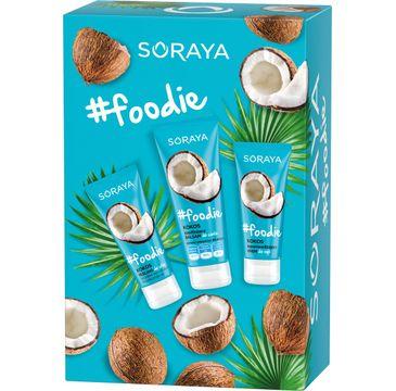 Soraya –  #Foodie Kokos zestaw peeling do stóp 75ml + nawilżający balsam do ciała 200ml + supernawilżający krem do rąk 75ml (1 szt.)